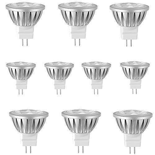 MATMO GU4 MR11 AC/DC 12V 3W 35mm Durchmesser 300LM LED Lampen Warmweiß 2700-3200K LED Leuchtmittel Ersetzt 20 Watt Halogen Punktbeleuchtung,30 Grad Abstrahlwinkel 10er Pack [Energieklasse A+]