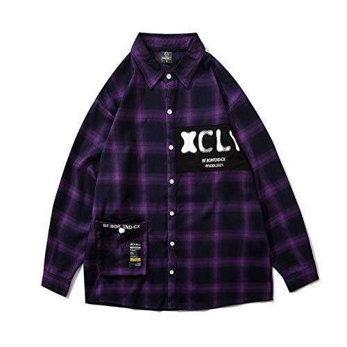 Camisa para Hombre, Tendencia de Moda, Personalidad, Estampado Animal, Camisa a Cuadros, Camisa de Manga...