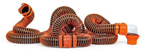 Camco RhinoEXTREME 20ft RV Sewer Hose Kit - Includes Swivel Fitting and Translucent Elbow with 4-in-1 Dump Station Fitting - Crush Resistant - Storage Caps Included (21012)