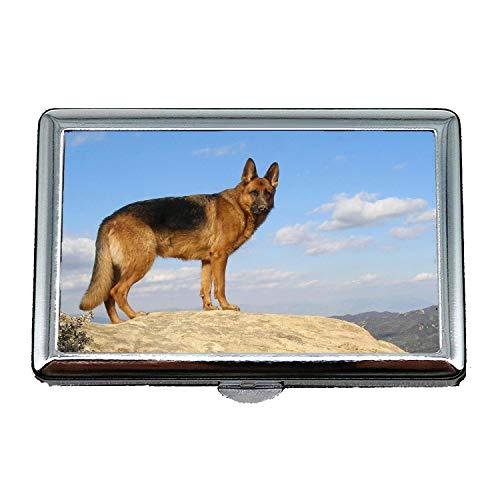 Niedlich Edelstahl Box oder Zigaretten Fall, Rottweiler Puppy Dog Deutscher Schäferhund, Credit Business Card Inhaber Fall Aufbewahrungsbox