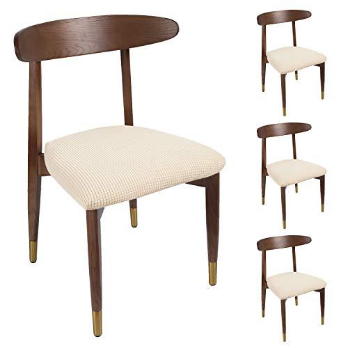 Qishare 4 Pezzi coprisedili per Sedia da Pranzo con Lacci Antiscivolo Super Fit Elastico Elastico Universale Lavabile Cuscino protettori per Sala da Pranzo, Cucina, Ufficio(Beige)