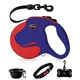 QiMH Retractable Dog Leash, 360° Tangle-Free Heavy Duty 16ft Reflective Walking Dog Leash Ribbon for Medium...