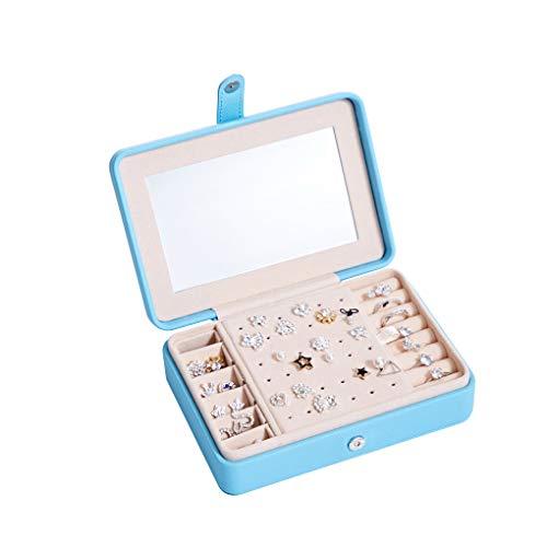 Fengyuanhong Joyería de Las Mujeres Caja de la caja del organizador del pendiente del anillo del maquillaje Espejo Botón de almacenaje de la joyería