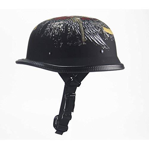 Retro Bike Motorcycle Helmet, Vintage German Cooter Helmet for Scooters Moped Cruise Electric Vehicles Roller Cruiser Chopper Anti-Collision Helmet,A,XL