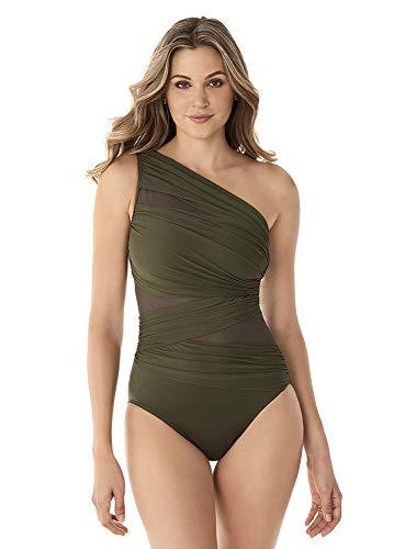 Miraclesuit Women's Slimming Swimwear JENA One Shoulder Tummy Control One Piece Swimsuit Bathing Suit, Olivetta, 12