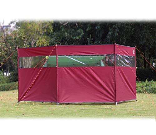 HIKEMAN Pantalla Solar al Aire Libre del Refugio del Viento Que acampa del día de Fiesta de la Playa de la protección contra el Viento de 4 Polos con la Ventana Superior (Rojo)