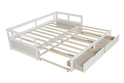 Windaze Extendable Daybed with Trundle and 2 Storage Drawers Full Twin to King Size-Solid Wood Multi-Function Bed with Slats Support, White