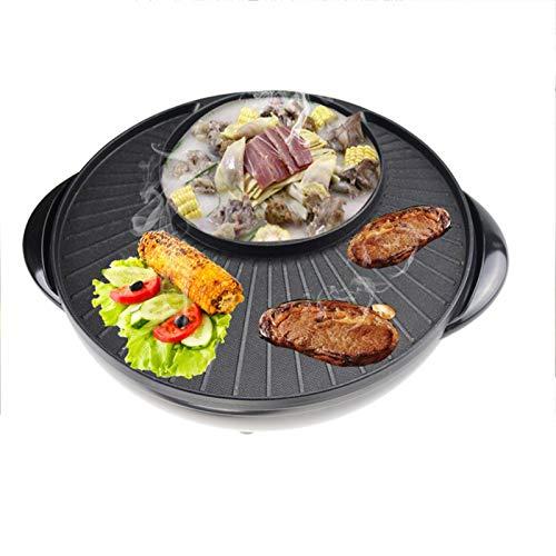 FWKTG Barbacoa eléctrica portátil, Parrilla eléctrica para Interior con Bandeja para cocinar al Aire Libre, Gran Capacidad, Antiadherente, con 5 ajustes de Temperatura