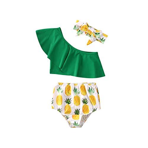 Geagodelia - Conjunto de 3 piezas de traje de bao para nia de verano sin espaletas + pantalones con estampado de anas+ diadema con lazo para la playa Verde 2-3 Aos