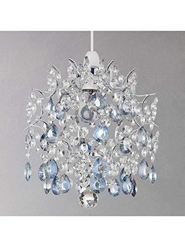 Saint Mossi Lampadario moderno cristallo in vetro cristallo barocco, paralume in cristallo trasparente a sospensione, cristallo trasparente e gocce blu