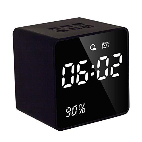 Reloj despertador mini inalámbrico Bluetooth estéreo altavoz LED pantalla despertador Radio FM Reproductor de música USB Relojes con retroiluminación negro