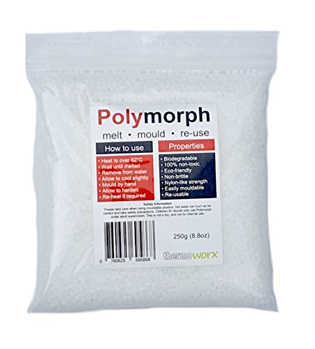 Thermoworx Polymorph 250g | Hand mouldable eco-friendly thermoplastic. Re-usable unlimited uses - DIY, Crafts, Repairs, Moulds, Casting, Plastic adhesive, Modelling, Grips, Prototypes. TOP QUALITY!