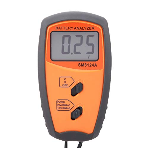 SM8124A Pantalla LCD Voltímetro de resistencia digital Probador de voltaje de batería para automóviles/vehículos eléctricos