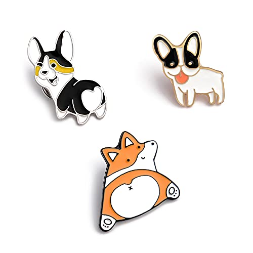 Lucky Cats Dogs Enamel Brooch Lapel Pin Badge, Cute Animal Enamel Brooches Backpack Lapel Pins Decorative Badges for School Bags Backpacks, Small Jewelry Gift for Girls Kids
