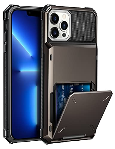 ELOVEN Compatible with iPhone 13 Pro Case with Card Holder Hidden Credit Card Slot Protective Cases Shockproof Rugged Bumper Protection Hard PC Cover Compatible with iPhone 13 Pro 6.1 inch Gun Metal