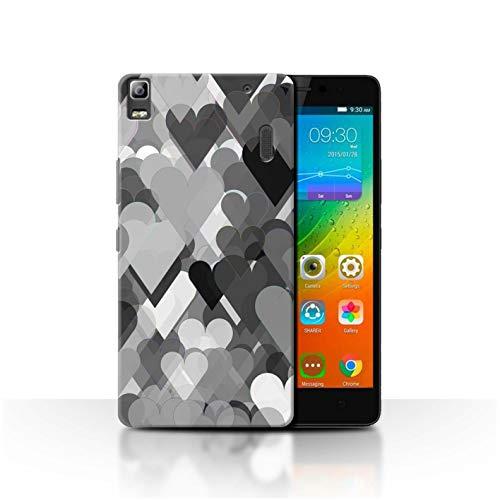 Stuff4 Phone Case for Lenovo K3 Note/K50-T5 Black Fashion Transparent Hearts Transparent Clear Ultra Slim Thin Hard Back Cover
