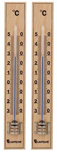 Lantelme 2 Stück Zimmerthermometer Set Holzthermometer Analog Holz Buche Innen Außen Garten Thermometer 6331