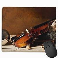 ミュージックコンサートバイオリン滑り止めのユニークなデザインゲーミングマウスパッド黒い布長方形マウスパッドアートステッチエッジのある天然ゴムマウスマット9.8x11.8インチ