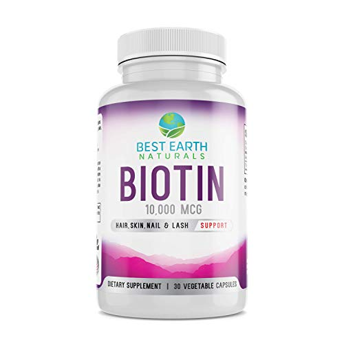 Biotin 10,000mcg - Extra Strength Biotin Vitamin Supplement to Support Hair Growth, Strong Nails, Longer Eye Lashes and Healthy Skin