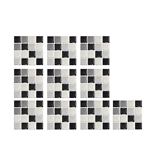 10pc 3D Pegatinas de azulejo de cristal 3D DIY Etiquetas engomadas autoadhesivas impermeables Etiquetas de pared Decoración de la cocina Etiquetas de pared Etiquetas de pared impermeables Azulejos de