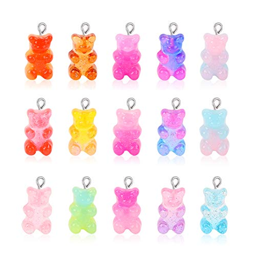 100 Pcs Gummy Bear Charms Pendants Cute Resin Bear Candy Charms in Bright Color Cartoon Bear Keychains Jewelry Necklace Charm Cute Bracelet Accessories for Child DIY Craft