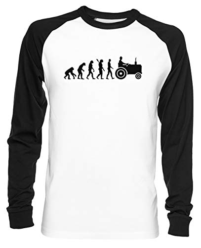 Evolutie Trekker Unisex Baseball T-shirt Mannen Dames Wit Unisex Baseball T-shirt Men's Women's White
