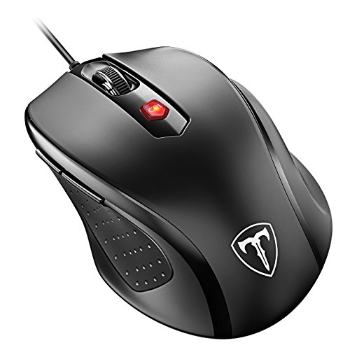 VicTsing Mouse con Filo 2400DPI, 24 Mesi di Batteria Durata, Compatibile con Windows 10/8/7/XP/Vista, per PC Mac, Nero