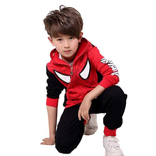 YUANY Sudadera con Capucha de superhéroe Spiderman para niños Ultraman Pantalones de Manga Larga Cremallera Cosplay Sudadera Traje de Dos Piezas para niños,D-110c