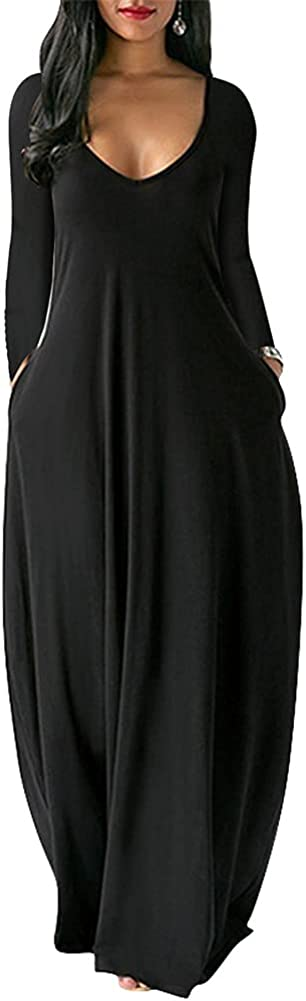 Sprifloral Women's Maxi Dress Long Sleeve Loose Plain Casual Sexy V Neck Long Dresses with Pockets
