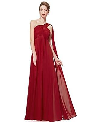 Ever-Pretty Womens Long One Shoulder Bridesmaid Dress 18 US Burgundy