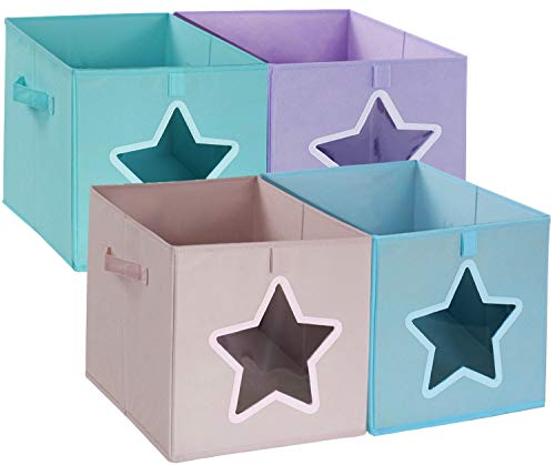 Cloth Storage Bins Cubes 12x12 - Collapsible Kids Toy Chest Containers Organizer Baskets with Clear Star Shap Window and Handles for Pantry ClosetClothesHomeOfficeBedroom Set of 4