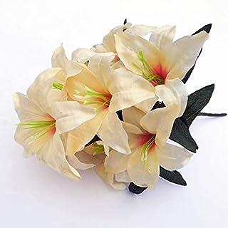 PAKUES-QO Faux Bouquet 10 Têtes Fleur De Soie 45Cm Fleurs De Lys Artificielles Multicolore Faux Fleurs De Mariée Bouquet D...