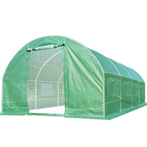 Quictent 2 Mesh Doors 20 Stakes Heavy Duty 20 x 10 x 6.6 ft Portable Greenhouse Large Walk-in Green Garden Hot House + 2 Doors Flow-Through Ventilation