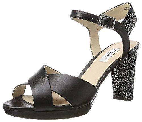 Clarks Kendra Petal, Zapatos de Tacón para Mujer, Negro (Blk Interest Lea),...