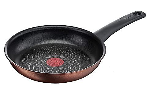 Tefal G25304 Resource - Sartén (24 cm, revestimiento antiadherente Titanium Pro, señal térmica, duradera, apta para todo tipo de fuegos, fácil limpieza), color negro y cobre