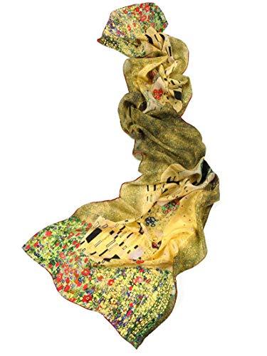 prettystern 160cm foulard seta donna Gustav Klimt Stile Opera D'arte Sciarpa di Seta Il Bacio/Kiss P760