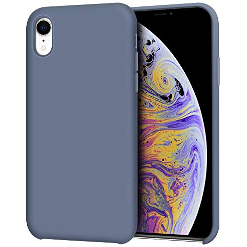 """Anuck iPhone XR Case, Anti-Slip Liquid Silicone Gel Rubber Bumper Case with Soft Microfiber Lining Cushion Slim Hard Shell Shockproof Protective Case Cover for Apple iPhone XR 6.1"""" 2018 - Blue Gray"""