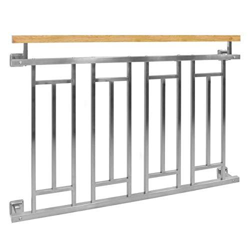 ECD Germany Französischer Balkon 128 x 90 cm | glänzend | aus Edelstahl | Silber mit Holzoptik | Balkongeländer Fenstergitter