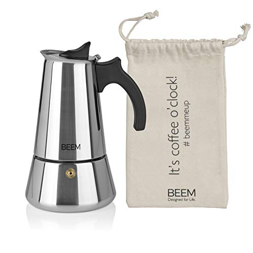 BEEM ESPRESSOMAKER Espressokocher - 6 Tassen | Kaffeekocher | Induktion geeignet | Edelstahl | 200-300 ml Mokka | Camping Espressokanne | Plus Beutel