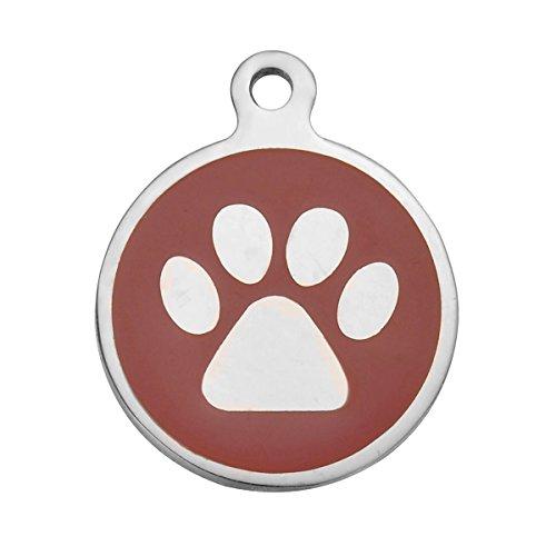 MUZI Etiqueta para mascotas de perro o gato de palmera redonda de acero inoxidable para identificación de mascotas, unisex, antipérdida, etiqueta de grabado personalizada para mascotas