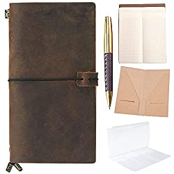 Brown leather travel journal, leather cover, pad of paper and gold pen