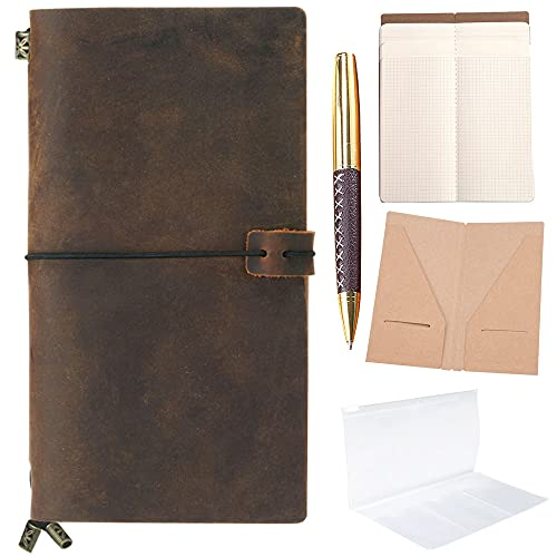 Refillable Leather Journal Refillable Travellers Notebook for Men 8.5 x 4.5...