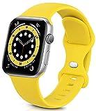 Sichy Cinturino Compatibile con Apple Watch 44mm 40mm 38mm 42mm, Cinturini da Polso sostitutivi in Silicone compatibili con iWatch Series 6/5/4/3/2/1/SE,44mm/42mm M/L,Giallo Mango