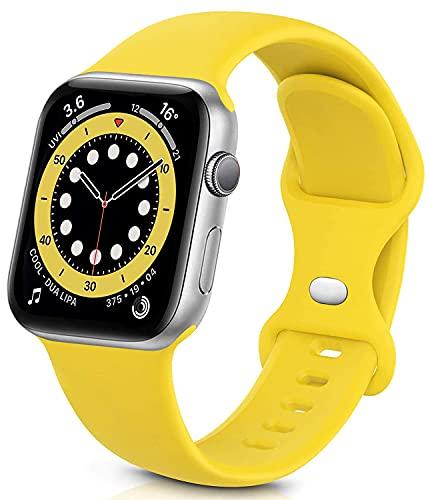 Sichy Cinturino Compatibile con Apple Watch 44mm 40mm 38mm 42mm, Cinturini da Polso sostitutivi in Silicone compatibili con iWatch Series 6 5 4 3 2 1 SE,44mm 42mm M L,Giallo Mango