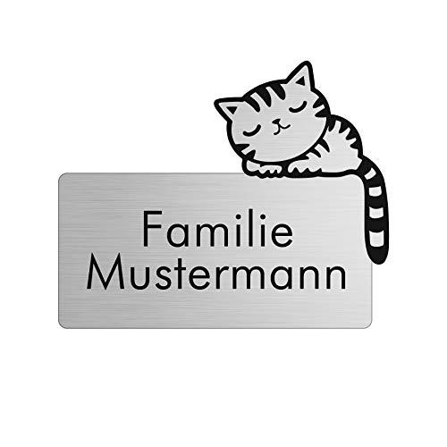 Namensschild personalisiert mit Gravur - Briefkastenschild in 4 Motiven erhältlich - Klingelschild in Edelstahl Optik - Geschenkidee für Frauen & Männer - Türschild ist selbstklebend - Katze
