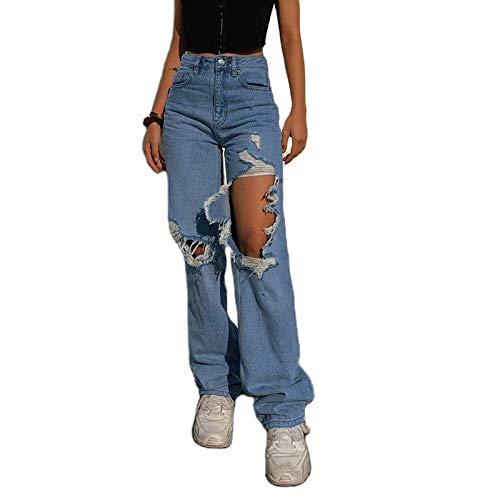 WangsCanis Jeans Strappati Femminili Pantaloni Attillati a Vita Alta Pantaloni Larghi per Donna (Blu, L)