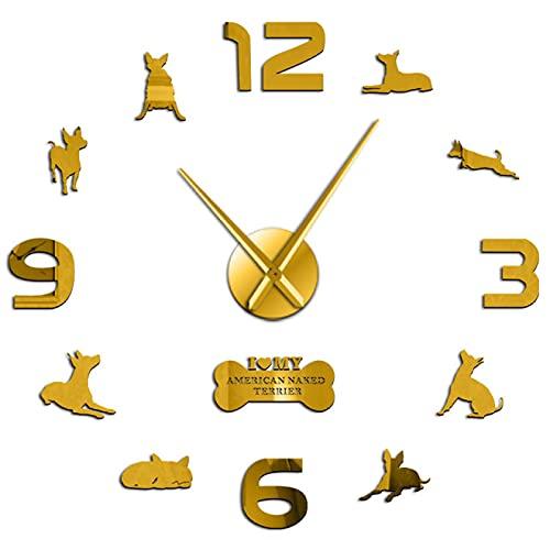 hufeng Reloj de Pared American Naked Terrier Decoración del hogar Reloj de Pared DIY Reloj sin Marco Moderno Favorito de Estados Unidos Oro 37 Pulgadas