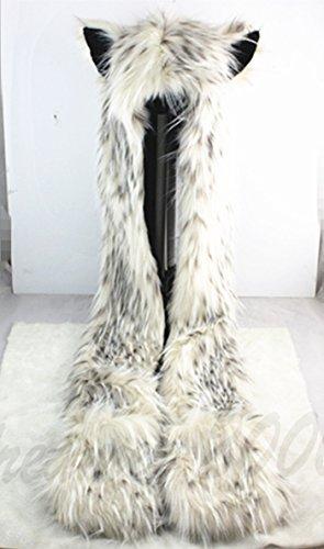 HatButik. Snow Leopard Faux Fur Hoodie Hat Long Cap with Mittne Scarfs Ears & Paw Print 3 in 1