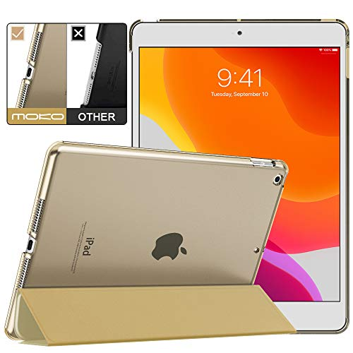 MoKo Case Fit New iPad 7th Generation/iPad 10.2 2019 Case - Slim Lightweight Smart Shell Stand Cover with Translucent Frosted Back Protector for iPad 10.2' 2019, Champagne Gold(Auto Wake/Sleep)