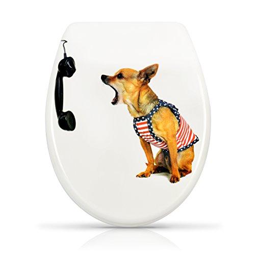 """WC Sitz mit Absenkautomatik -""""Callcenter Dog"""" Design - Duroplast Toilettendeckel mit Motiv inkl. Montagesatz - Grinscard"""